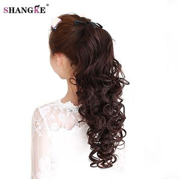 SHANGKE Long Long Curly Synthetic Ponytail  in drawstring Pony Tail Hair Extensions Curly Style Hairpiece Black Brown Blonde