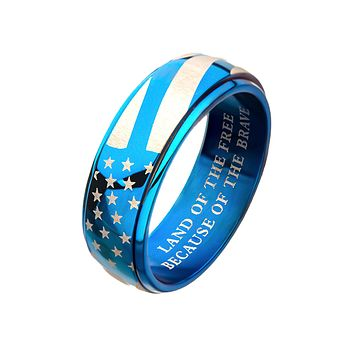 Patriot in Blue - Men's Stainless Steel American Pride Blue IP Spinner Ring