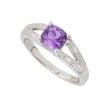Sterling Silver .01ct Genuine Diamond Ring with 6mm Amethyst Split Shank