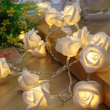 3.0M 10/20/40 Rose Christmas Decoration String Lights Simulation LED Light Post Lantern Lighting Fairy Lights Home Flower Party