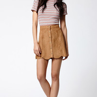 Kendall and Kylie Faux Suede Scallop Hem Skirt at PacSun.com