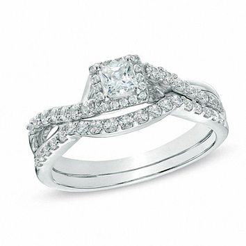 3/4 CT. Princess-Cut Diamond Halo Twist Shank Bridal Engagement Ring Set in 14K White Gold
