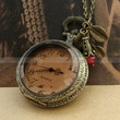 Vintage style locket pocket watch necklace with smoky cover and red crystal charm