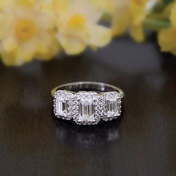 Ring For Women 1.03CTW Emerald Cut Simulated Diamond S925 Sterling silver with gold Engagement Wedding Rings Fine Jewelrybague