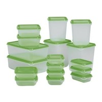 Ikea Food Container 601.496.73, Set of 17, Green