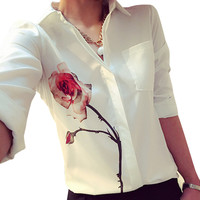 Scolour Plus Size Women Long Sleeve Rose Flower Blouse Fashion Spring Summer Turn Down Collar Loose Casual Chiffon Shirt Blusas
