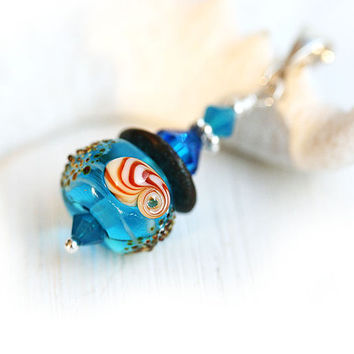 Aqua Blue Beach Pendant, Seashell Blue Glass Pendant, Beaded Lampwork Pendant, Beach inspired jewelry, Seashell Jewelry by MayaHoney