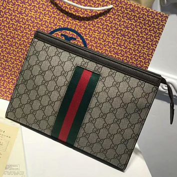 GUCCI Woman Men Envelope Clutch Bag Leather File Bag Tote Handbag4