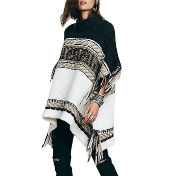 Autumn Hippie Fringe Tassel Knit Woven Poncho Winter Women Knitting Sweater Ethnic Contrast Color Pullover Loose Cloak