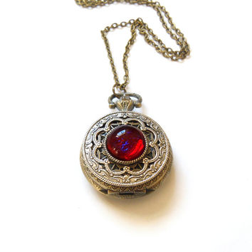 Dragon Breath Fire Opal Pocket watch Locket style necklace--Mother's Day Gift
