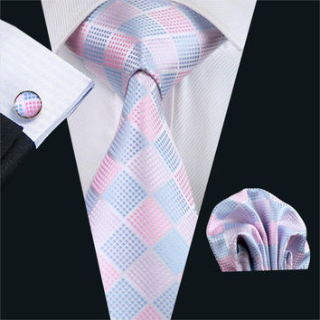 Gents Necktie Pink Plaid Silk Jacquard Tie Hanky Cufflinks Set Men's Business Gift Ties For Men