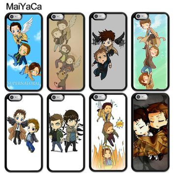 MaiYaCa Supernatural Castiel Dean Sam Cartoon Soft Rubber Phone Cases For iPhone 6 6S Plus 7 8 Plus X 5 5S SE Back Cover Coque