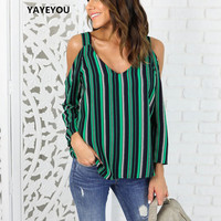 2017 Sexy Casual Loose Blue White Striped Off Shoulder Blouse Tops Summer Chiffon Shirts Plus Size