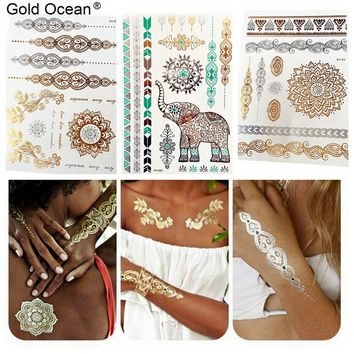 3 Pieces/Lot Waterproof Indian Henna Gold Metallic Tattoos Mandala Elephant Chains Body Art Fake Flash Temporary Tattoo Stickers