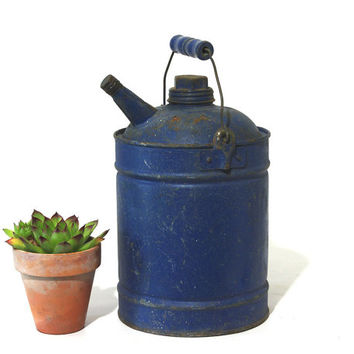 Vintage Gas Can, Industrial Metal Decor, Royal Blue