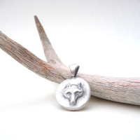 Fox wolf pendant custom made to order from fine silver