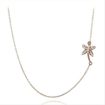 Rose Gold Tone over 925 Silver CZ Palm Tree Chain Necklace
