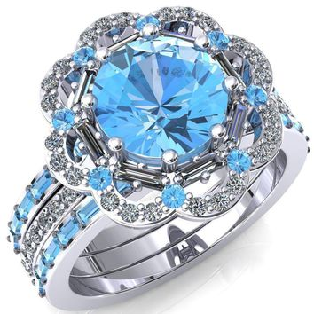 Camelia Round Lab-Created Aqua Blue Spinel Accent Diamond and Aqua Blue Spinel Halo Ring