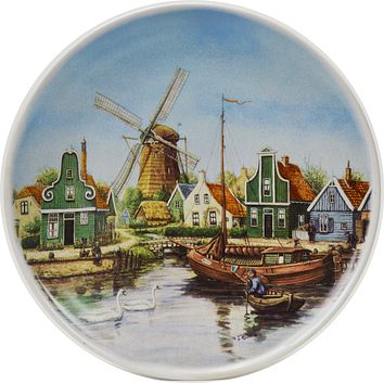 Souvenir Plate Swan Village Color