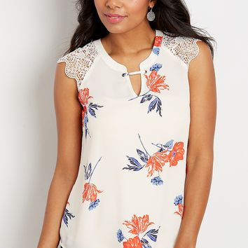 floral crocheted shoulder blouse | maurices