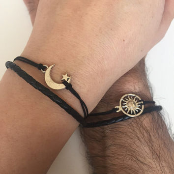 53369dd43 Couples Bracelets 298- friendship love cuff moon and sun bracelet leather  braid gift adjustable current