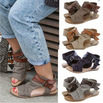 Womens Sandals Ankle Strap Slipper Sandals Flops Flat Shoes Bohemia Beach Summer