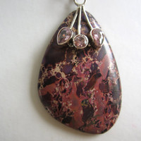 Pink Purple Brown Brecciated Jasper and Kunzite Sterling Silver Pendant