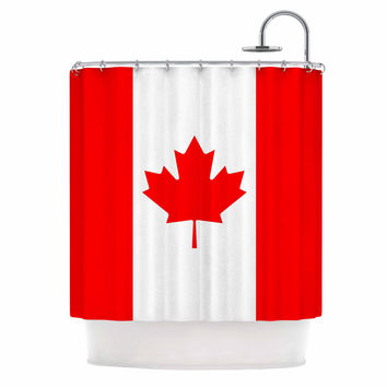 """Bruce Stanfield """"Flag of Canada"""" Red White Shower Curtain"""