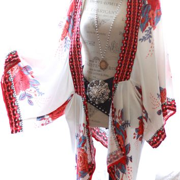 Gypsy rose Kimono Robe, Women's White floral kimono robe, Boho chic, True rebel clothing
