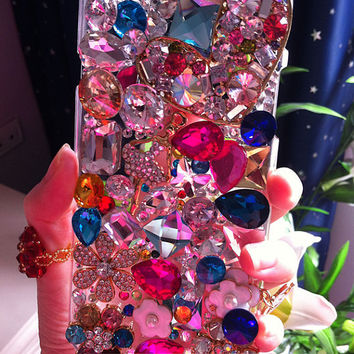 Custome Luxury Bling Pearl Floral Heart Samsung Galaxy S5 S4 S3 Note2 Note4 Mega6.3 Mega5.8 iphone 4s iphone 5s iphone 5c iphone 6 Plus Case