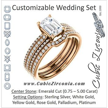 CZ Wedding Set, featuring The Isidora engagement ring (Customizable Emerald Cut Center with Wide Triple Pavé Band)