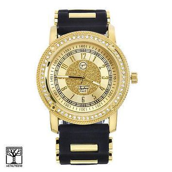 Jewelry Kay style Fashion Iced Out Gold Plated Silicone Band Men's Techno Pave Watches 8153 GBK
