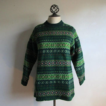 Vintage 90s Wool Sweater United Colors of Benetton Green Nordic Shetland Ski Knit 1990s Pullover Jumper Small