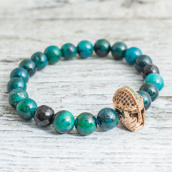 Green phoenix stone and beaded rose gold Spartan helmet stretchy bracelet, mens bracelet, womens bracelet