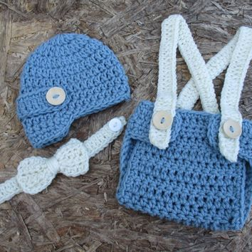 Newborn Blue & Cream Newsboy Set Baby Photo Prop