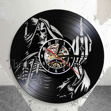 Skeleton Middle Finger Wall Clock Punk Skull Wall Art Up Yours Vinyl Record Clock Spiral Bone Finger Modern Decorative Clock