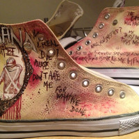Hand painted hi tops, Alesana, Sleeping with Sirens, Never Shout Never..