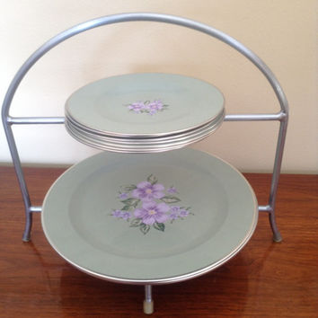 "Super sweet set of eight 7"" and eight 10"" sage green tin plates with a violet colored center flower. Cottage Shabby Chic"