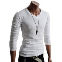 Doublju Mens V-Neck T-shirts with Long Sleeve WHITE (US-XL)