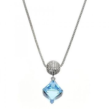 Rhodium Plated Fancy Necklace, Box Design, with Swarovski Crystals and Micro Pave, Rhodium Tone