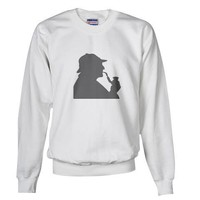 Gray Sherlock Holmes Profile Literature Sweatshirt by CafePress