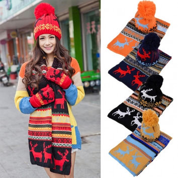 Stylish New Women's Ladies Sweet Deer Pattern Winter Warm Thickening Knitted Long Scarf Shawl + Ski Hat Set
