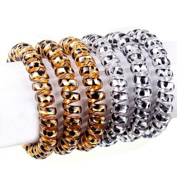 5 pcs Fashion Women Gold/Silver Leopard Elastic Hairbands Scrunchie Telephone Wire Hairbands Ponytail Holder