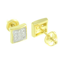 Gold Tone Mens Earrings Simulated Diamonds Womens Screw Back