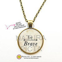 Be brave with arrow quote necklace-Arrows necklace-Be brave quote necklace-Boho Jewelry-boho necklace-brave pendant-NATURA PICTA NPNK028