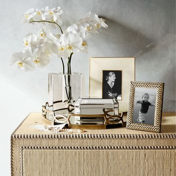Brass Bordered Stone Picture Frame, White