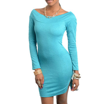 Off Shoulder Long Sleeve Dress with Slit in Blue