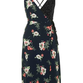 Floral Wrap Slip Dress - Dresses - Clothing