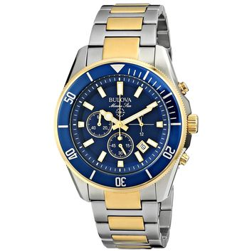 Bulova 98B230 Men's Marine Star Blue Dial Two Tone Steel Chronograph Watch
