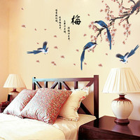 New magpies plum bedroom TV wall in the sitting room background wall paper stickers stickers of the head of a bed SM6